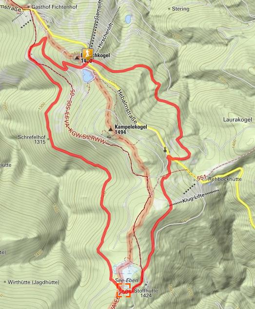 Winterwanderweg Hebalm Route
