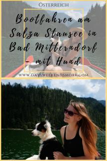 Bootfahren am Salza Stausee mit dem Hund. Die erste gemeinsame Bootsfahrt