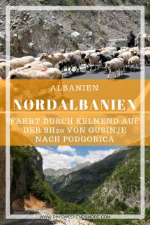 Die Fahrt durch Nordalbanien. Auf der SH20 durch Kelmend vom Prokletije Nationalpark nach Podgorica - schnellster Weg.