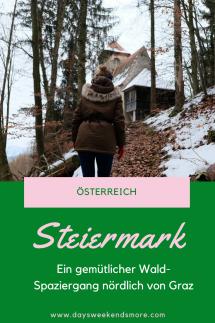 Ein ganz gemütlicher Wald Spaziergang in Rein. Gleich nördlich von Graz, gut kombinierbar mit einem Besuch im Stift Rein.